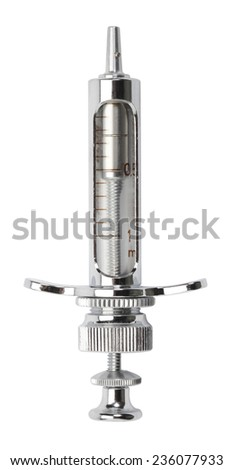 Old syringe isolated on white. Clipping path