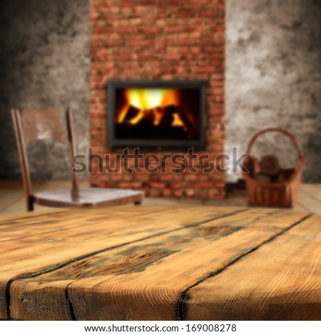 old table and fireplace
