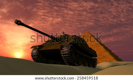 Old tank in desert with Pyramid background at sunset - stock photo