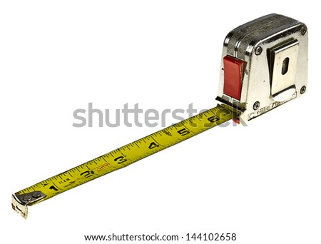 Old tape measure isolated on white with copy space. - stock photo