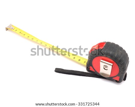 Old tape measure on a white background