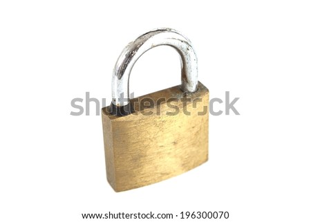 Old Tarnished Padlock on White Background