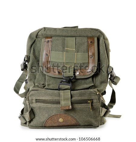 Old tarpaulin backpack over the white background - stock photo