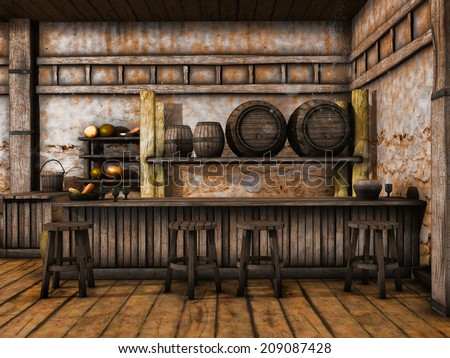 Old tavern counter with wooden stools and barrels - stock photo