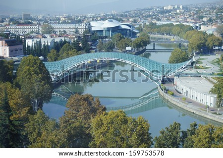Old Tbilisi: riverside of Mtikvari river - stock photo