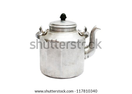 Old teapot isolated on white background