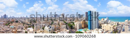Old Tel-Aviv town summer coast panoramic view (Israel) - stock photo