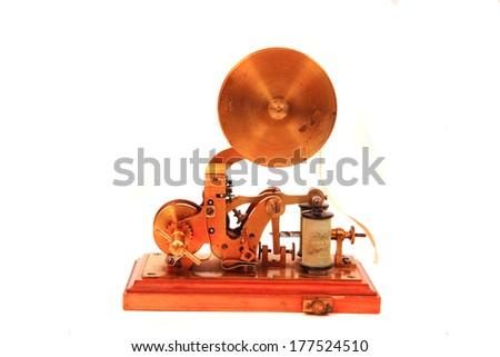 old telegraph machine  - stock photo