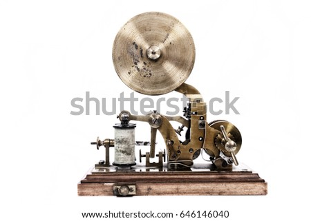 old telegraph machine isolated on the white background