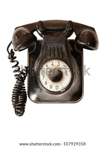 Old telephone isolated - stock photo
