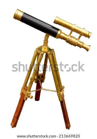 Old telescope isolated. Clipping path included