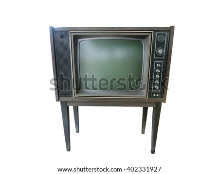 Old television isolate on white background.