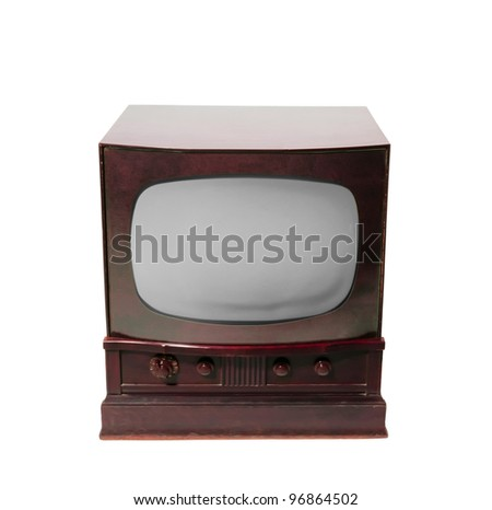 old television on a white background - stock photo