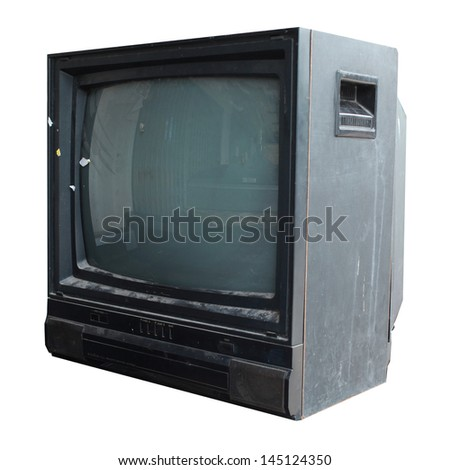 old television on white background