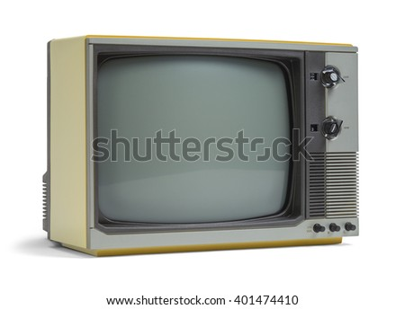 Old Television Set with Copy Space Isolated on White Background.