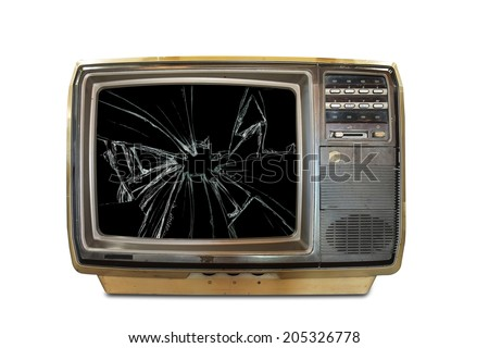 old television with broken screen isolated on white background - stock photo