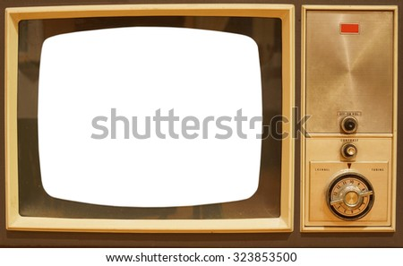 old television with white screen to add text or image - stock photo