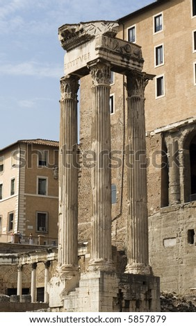 old temple column at forum romanum(in Rome)