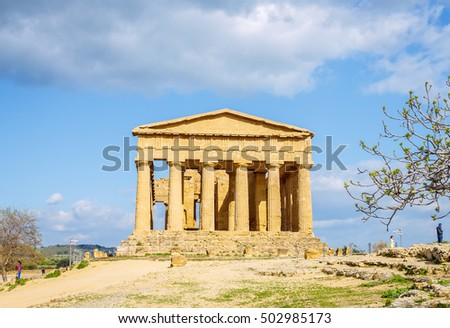 Old temple Concord, Valley of temples, Agrigento, Sicily, Italy.
