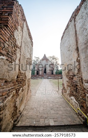 Old Temple in Phichit historical park,Thailand Made with red Brick