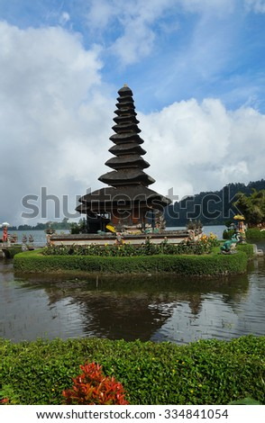 Old temple on coast of Bali - stock photo