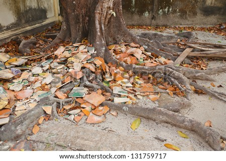 Old temple roof tiles, pile on the floor.