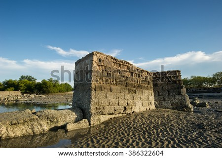 Old temple was destroyed by sea wave, Coastal Erosion at Gulf of Thailand - stock photo