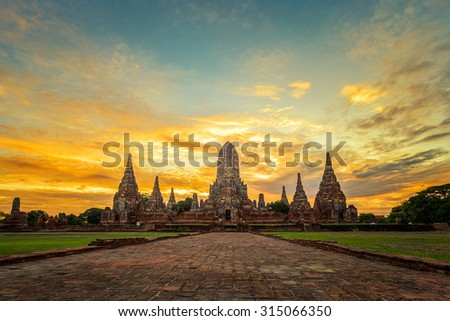 Old Temple wat Chaiwatthanaram in Ayutthaya,Thailand 