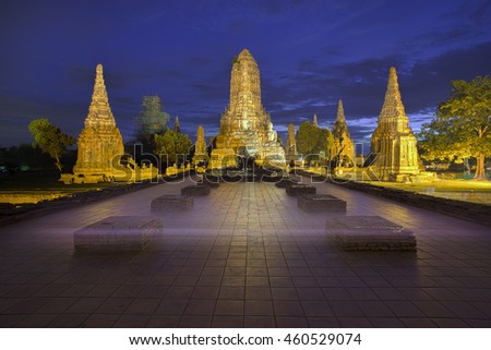 Old Temple wat Chaiwatthanaram of Ayutthaya Province ( Ayutthaya Historical Park ) Asia Thailand at Twilight.