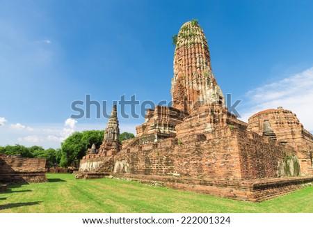 Old Temple Wat Pra Sri San Phet with blue sky in Ancient Ayuttaya,Thailand - stock photo