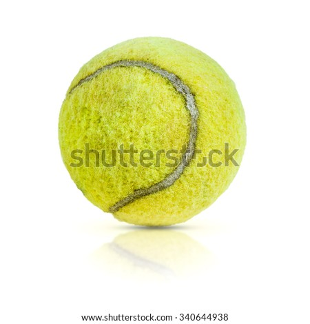 Old tennis ball isolated on white background