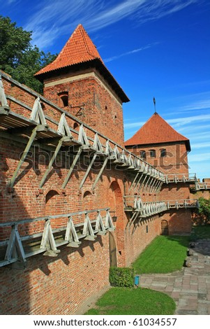 Old teutonic castle in Poland, Frombork, Gothic style. - stock photo