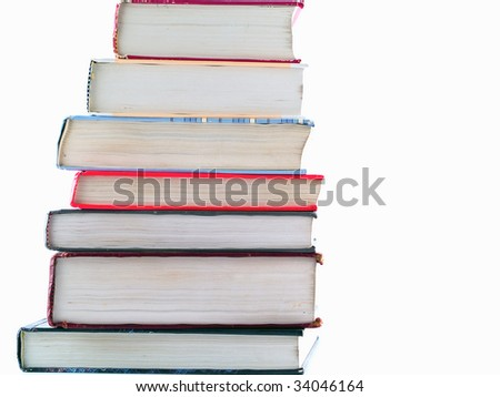Old Textbooks stacked on a blank background