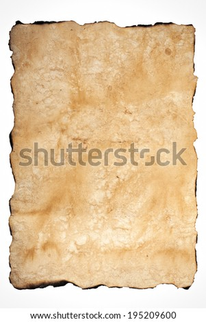 old texture of the paper with burnt edges on white background - stock photo