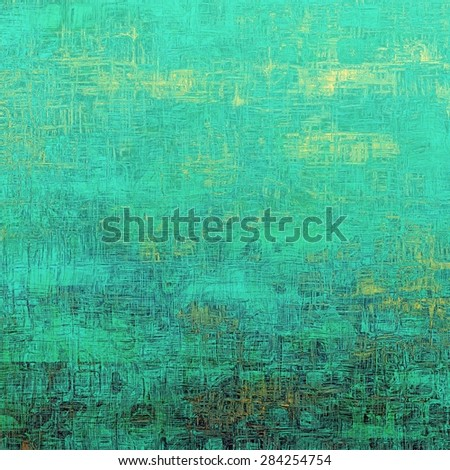 Old texture with delicate abstract pattern as grunge background. With different color patterns: yellow (beige); green; blue; cyan - stock photo