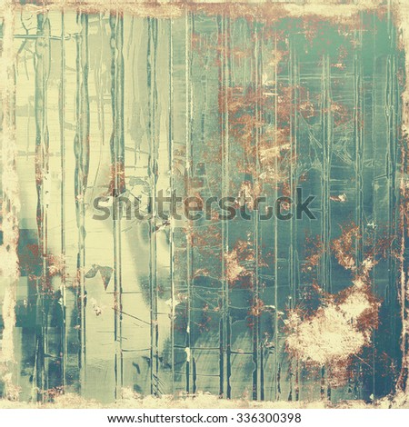 Old texture with delicate abstract pattern as grunge background. With different color patterns: yellow (beige); brown; blue; green - stock photo