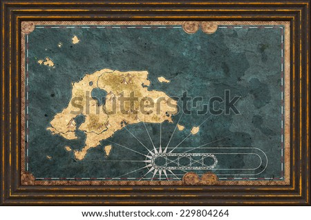 Old textured fantasy map of an island in a frame - stock photo