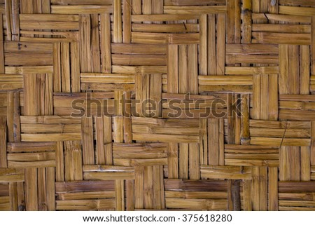 Old Thai handcraft of bamboo weave pattern for background texture