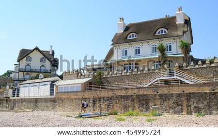 Old thatched cottages in Sidmouth, Devon - stock photo