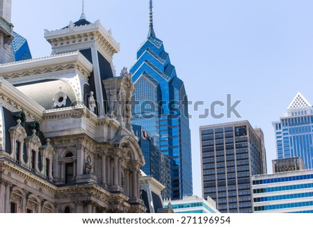 Old theatre and modern skyscrapers in Philadelphia - stock photo