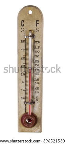 Old Thermometer on White Background - stock photo