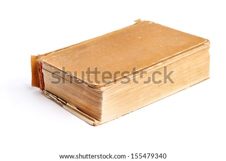 Old thick book on the white background - stock photo