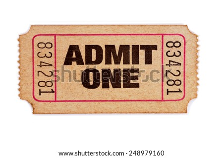 Old ticket : admit one movie ticket isolated on white background.   - stock photo