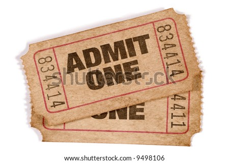 Old ticket : two old vintage torn admit one movie tickets isolated on white background.  - stock photo