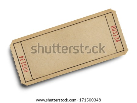 Old Ticket with Copy Space Isolated on White Background. - stock photo