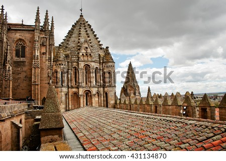 Old tile roof of ancient Cathedral in Salamanca, Spain - stock photo