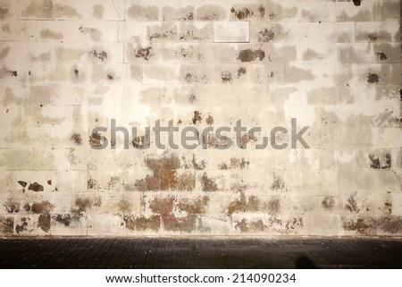 Old tiled wall with a blank white bricks   - stock photo