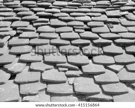 Old tiles on a house (black and white) - stock photo
