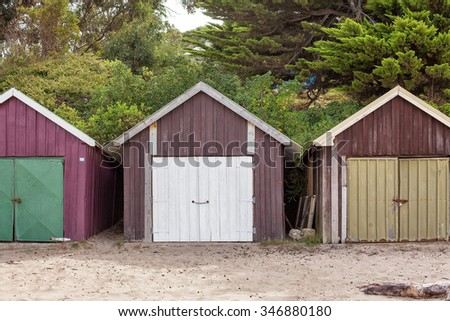 Old timber Boat sheds on the beach, Hobart, Tasmania - stock photo