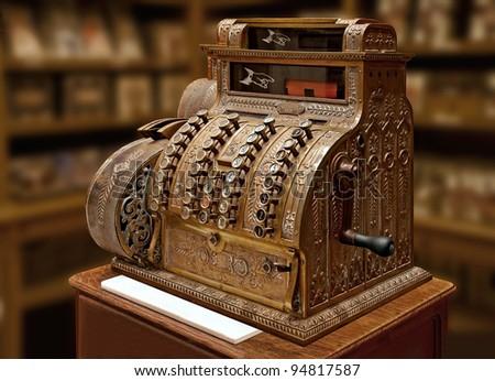 Old-time cash register in a shop.